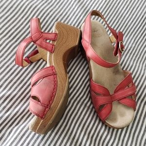 DANSKO Red Leather Mary Jane Sandals